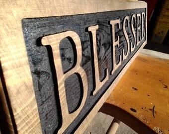 "Handmade wooden ""BLESSED"" sign"
