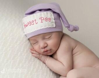 Sweet Pea Hat, Newborn Knotted Hat, Beanie, Newborn Photo Prop, Fresh 48 Shoot