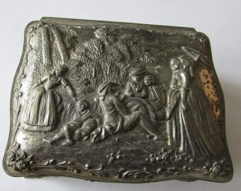 Vintage Scene Jewelry Box Silver Footed Jewelry Box