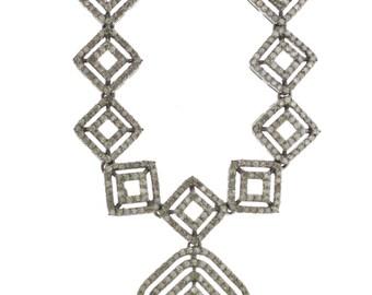 "Vintage Design 6.29ct Single Cut Diamonds 14K Gold, 0.925 Sterling Silver Set Necklace, Dangle Earrings  - ""CUSTOM MADE"""