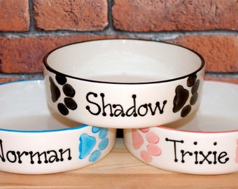 Large Hand painted personalised ceramic dog puppy paw prints bowl dish feeder