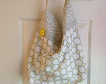 hobo bag womens purse gray purse tote bag market bag fabric