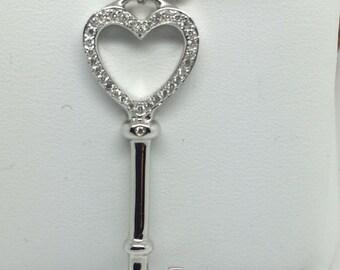 18K WG Natural Diamond Key Pendant