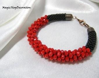 Red Bracelet with crystal beads Red and black Gift for her Beaded bracelet Delicate bracelet Charm bracelet Seed bead bracelet Handmade