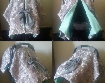 Silver rosette carseat canopy carseat cover-ready to ship