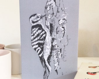 Bird Greeting Card, Woodpecker, Blank Card