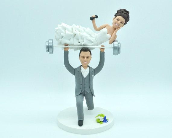Weight Lifting Wedding Cake Topper