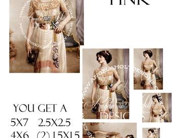 Lady in Pink 2 Sheet Digi Photo Set