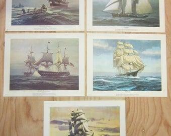 Lot of 5 Vintage Sailing Ship Schooner Frigate Clipper Prints*U.S.S. Constitution*Joseph Conrad*Charles M. Morgan*Ellen Bude*Red Jacket