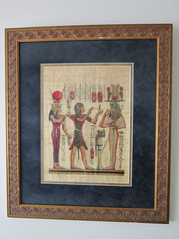 Large Framed Egyptian Papyrus Painting Hathor Ramses