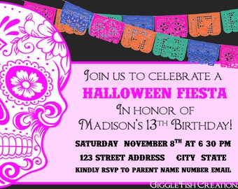 Halloween or Day of the Dead Party Invitation (PINK)