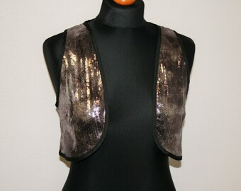 Silver vest Sequin Vest 90's Disko Sequin Top Silver Sequined Vest Sparkly Waistcoat Glam High Gloss Waistcoat Shiny vest Medium Size