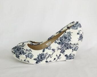 wedding shoes wedding heels vintage wedding floral ivory shoes