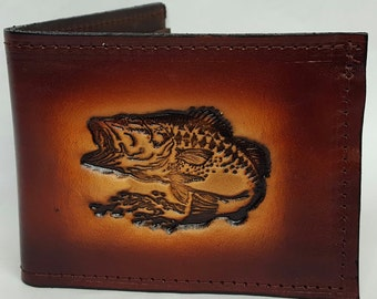 Bass Fish Bifold or Trifold Leather Wallet B1804