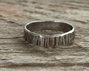 Sterling Silver Stacking Ring - Textured Stacking Ring - Wide Band Stacking Ring - Rustic Jewelry - Artisan Jewelry - Hammered Silver Ring