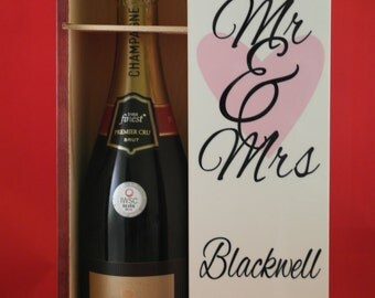 Personalised wine Box, Mr and Mrs gifts, Champagne gift box, wedding gift, whiskey box, anniversary Gift, wedding gift, Gift for the couple