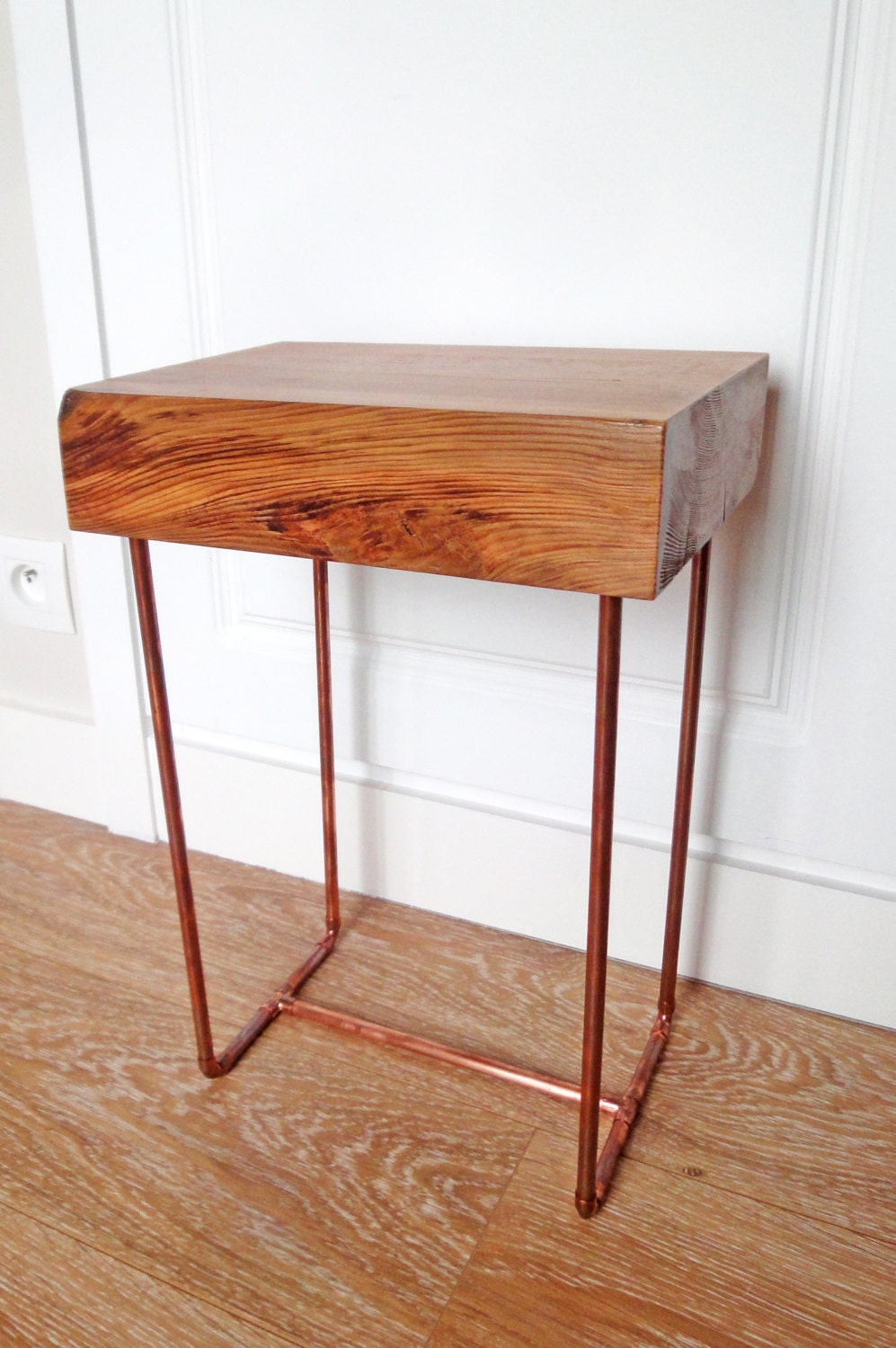 Side table with copper pipe legs by owlfurnituredesigns on for Table y copper