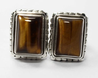 Tigers Eye Cufflinks 925 Sterling Silver Brown Handmade Mens Jewellery by AmoreIndia C315
