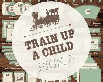 Train Up a Child Baby Bundle Pick 3, Train Baby Bundle, Train Baby Shower Bundle, Vintage Train Baby Shower Printables, Train Party Pack