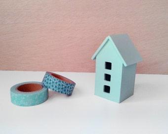 Decorative wood miniature House   Wooden miniature House   Decorative wooden house   Mint   White   Pink