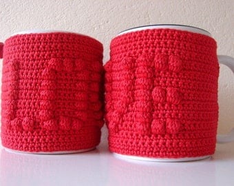 Mug cozy LOVE | cup cozy | Valentine's day gift | cup cozy heart | coffee cozy | sleeve cozy | crochet cozy | love cozy | red heart sleeve