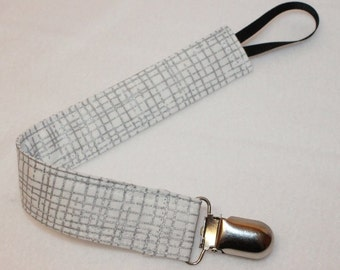 Silver Cross Stitch Pacifier Clip, Toy Clip