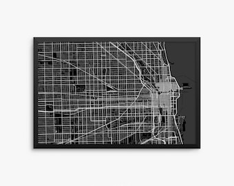 Chicago City Street Map, Chicago Illinois USA, Modern Art Print, Office Decor, Chicago Decor, Chicago Map, Chicago Poster, Chicago Gift Idea