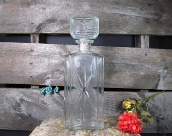 Schenley, Glass Decanter, 1965, Embossed Star on Bottle and Stopper