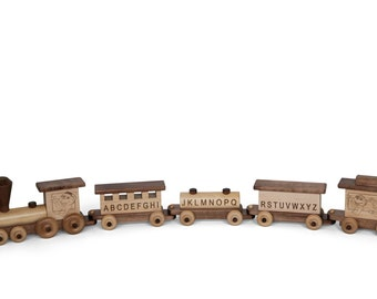 Retro Toys - Children's 5 Piece Wooden Alphabet Toy Train *Walnut and Maple* Amish Made in the USA - Model# 196WM/ABC