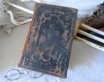 Vintage book ancient Bible patina french shabby decoration in the style of JDL