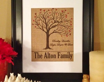 Family tree love birds burlap wall art Personalized Print  - Great Wedding or anniversary Gift! 8x10