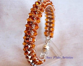 super duo Countess bracelet. topaz and pearl beige