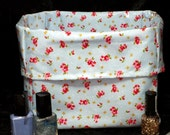 2 Rose Flower Oil Cloth Fabric Storage  Bins Fabric Storage Box Basket