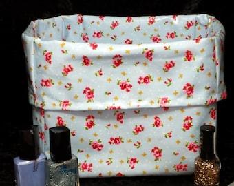 2 Rose Flower Oil Cloth Fabric Storage  Bins, Fabric Storage Box Basket