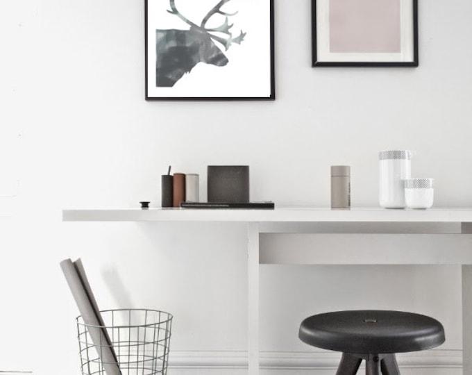 Grey Reindeer Poster / Watercolor Reindeer Poster / Reindeer Wall Art / Reindeer Printable Poster / Minimalist Poster/ Scandinavian Poster