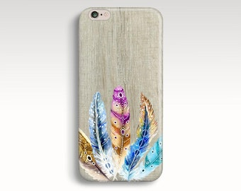 iPhone 7 Case, Wood iPhone 6s Case, Tribal iPhone 6 Case, iPhone 5C Case Feathers iPhone 7 Plus Case iPhone 6s Plus Case iPhone 5s iPhone SE