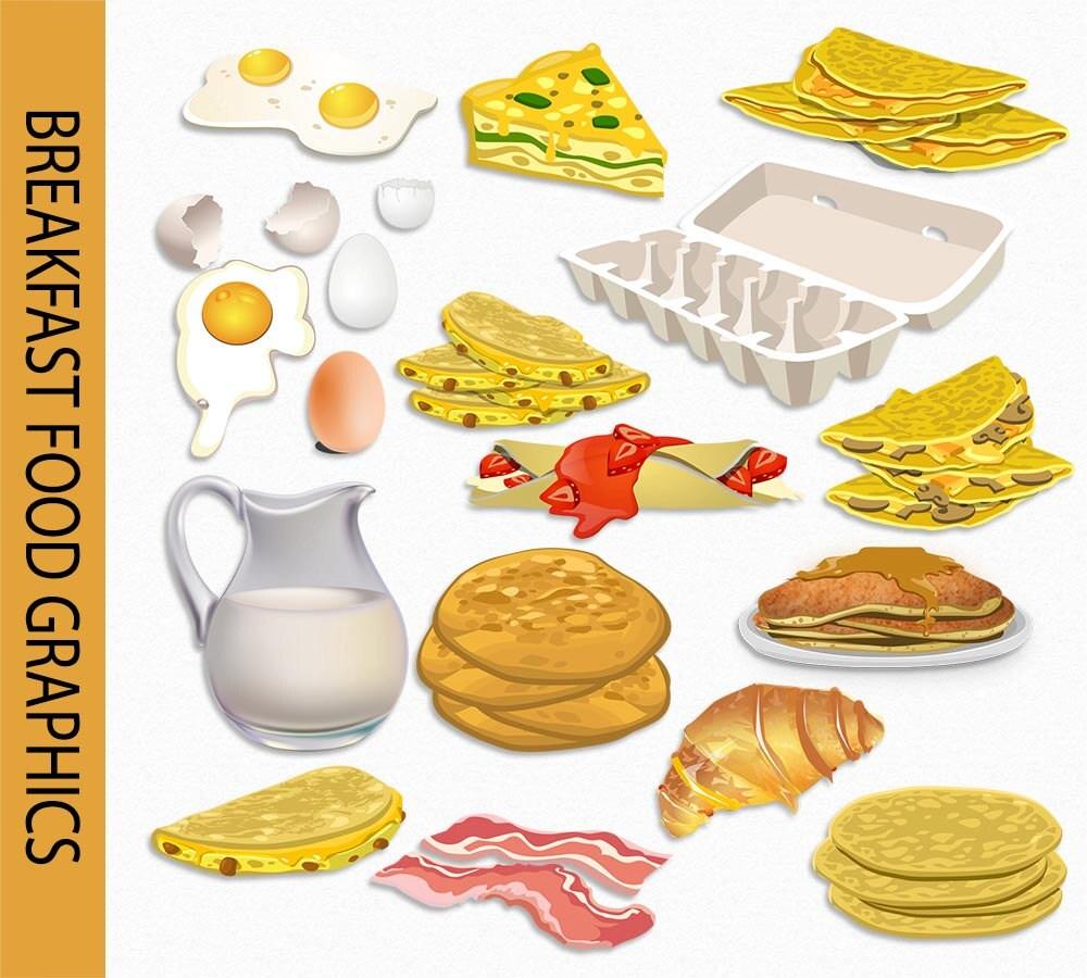 Breakfast Clip Art Graphic Food Clipart Scrapbook Egg Milk