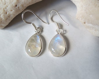 Silver rainbow moonstone earrings; set in 92.5 sterling silver,free shipping