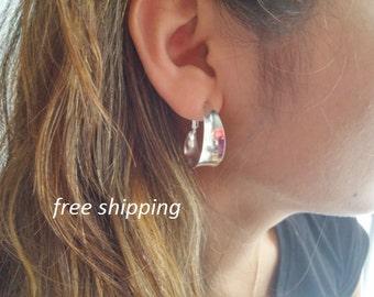 Wide silver hoop earrings; 92.5 sterling silver, boho, gypsie