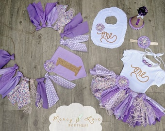 """The """"Lavender Fields"""" Fabric Tutu, Birthday Tutu, First Birthday Outfit Girl, Scrappy,purple tutu, High Chair Banner, Smash Cake Outfit Girl"""