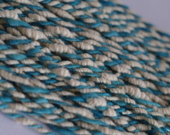 Handdyed merino supercoil 2-ply corespun artyarn WEAVES great for texture in weaving, knitting or crochet 140 g (5 oz) and 30 m (33 yards)