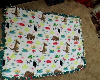 Woodland animals teal fleece blanket