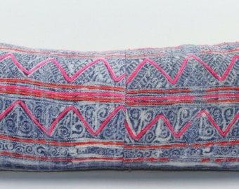 """Vintage Batik Hmong Pillow Cover, 10""""x28"""" Lumbar"""
