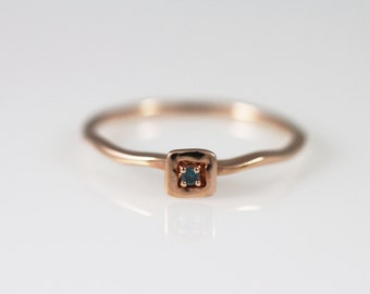 14K solid gold simple Diamond Ring, 14K simple ring, Stackable Ring, 14k Blue diamond ring, 14K unique ring, engagement ring, wedding ring