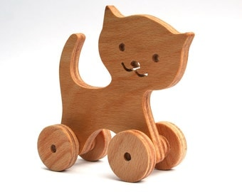 Wooden toy Cat. A Push Toy for Kids
