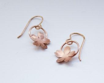 Japanese Cherry Blossom Earrings, Sakura Earrings, Delicate Flower Earrings