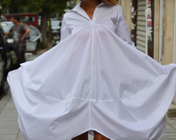 Sexy White Cotton Maxi Shirt, Extravagant Loose Shirt, Oversized Long Tunic Top By SSDfashion