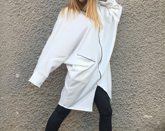 Oversize Neoprene Long Sweatshirt, White Maxi Sleeves Tunic, Extravagant Casual Top, Asymmetric Zipper Jacket By SSDfashion