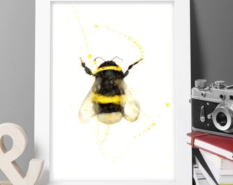 2 get 1 free ORIGINAL watercolor painting PRINT, bumble bee, abstract wall decor modern art ,prints Animal pop art