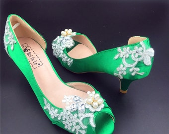 Custom Colors,Something Green Peep Toe Crystals Wedding Shoes,Bridal Ballet Shoes,Girls Open Toe Wedding Heels Shoes,Comfortable Bridal Pump